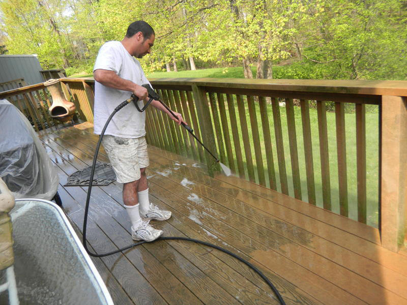 Pressure washing cleans and maintains the house