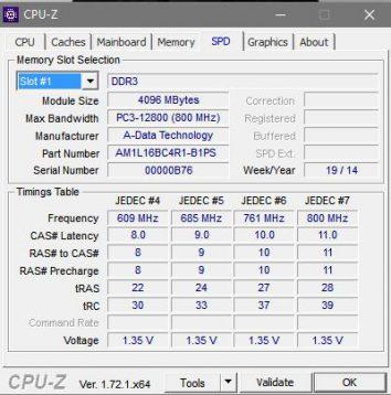 RAM information of laptop