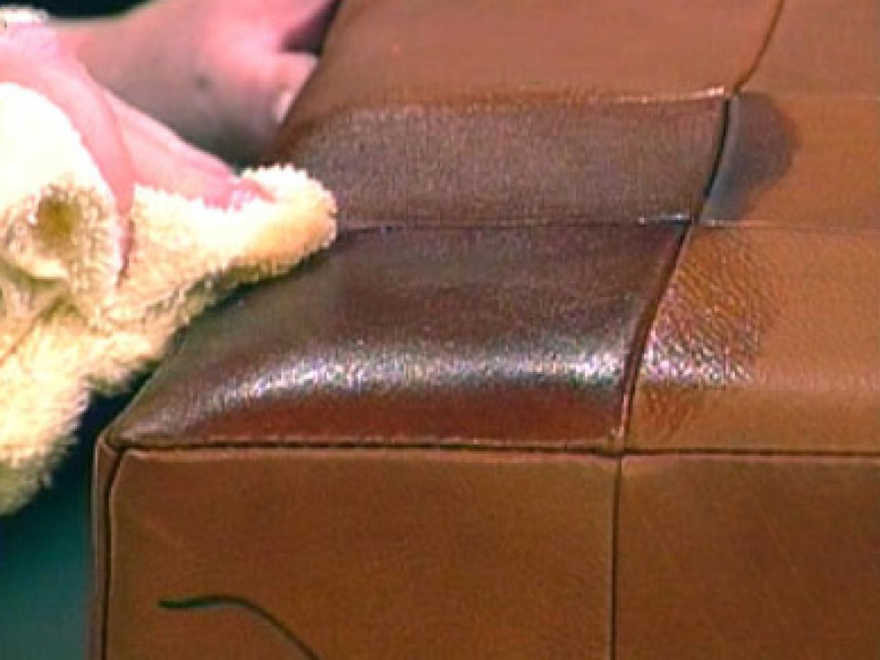 cleaning the leather sofa