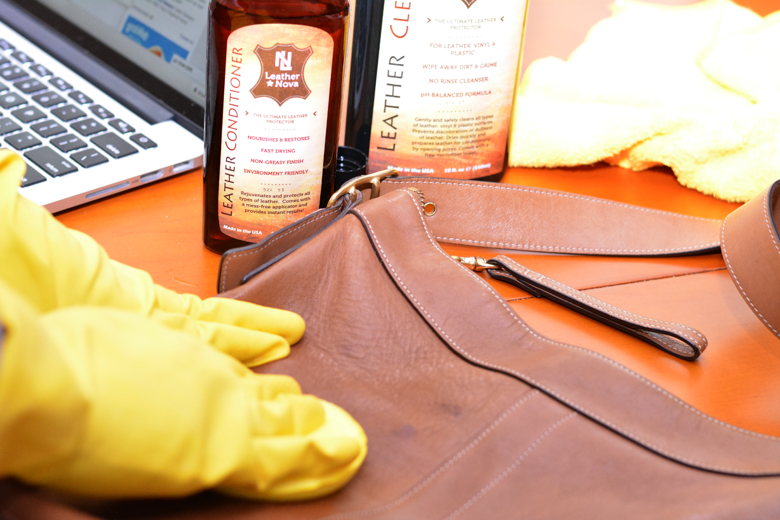 use leather cleaner to wipe leather purse