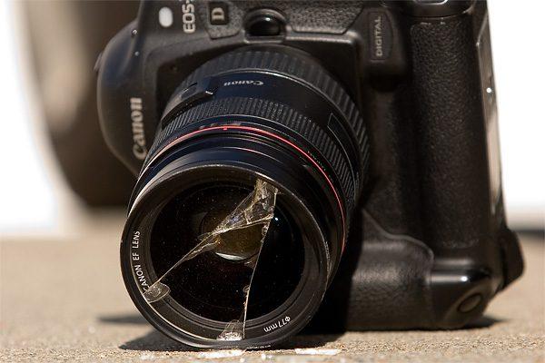 dropped camera lens