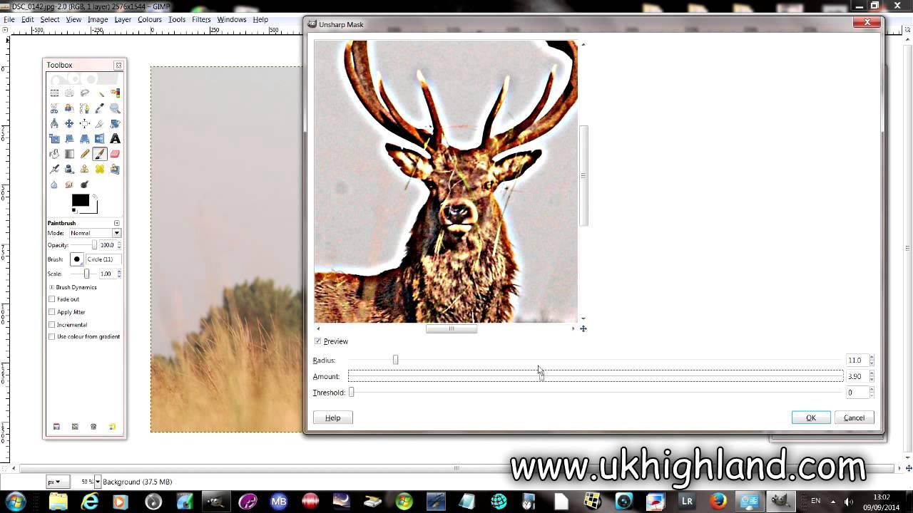 unsharpen mask GIMP to fix blurry photos
