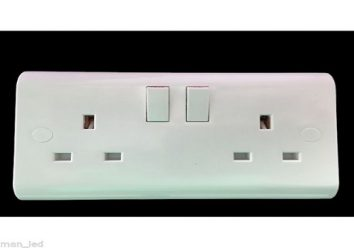 5 X UK Standard Double Switched Socket Plug Cover