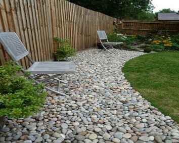 garden landscape made of gravel stones