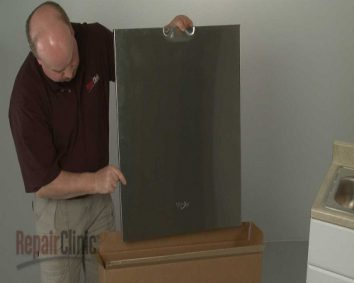 Attaching the door front to a Whirlpool integrated dishwasher