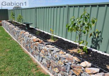 Gabion wall as garden edging landscape