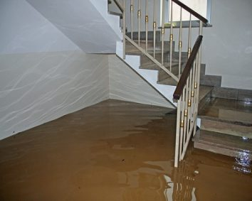 Water damage caused by a household pipe burst