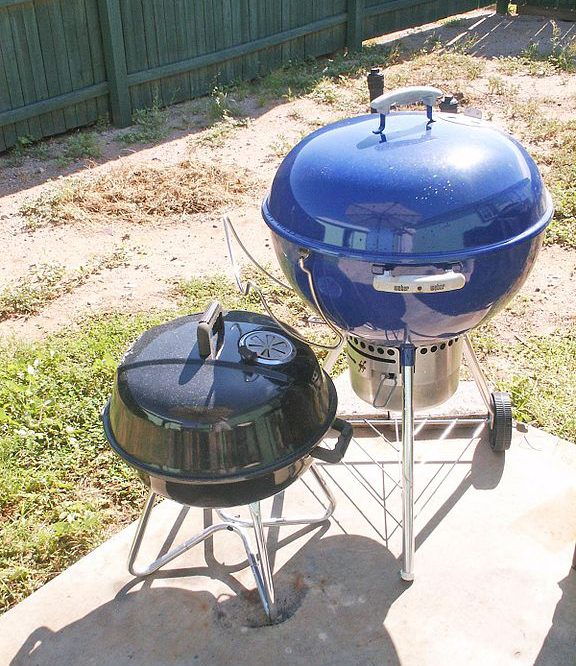 two different size of charcoal barbecue