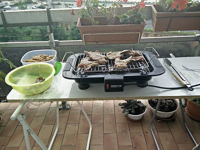 electric barbecue on table