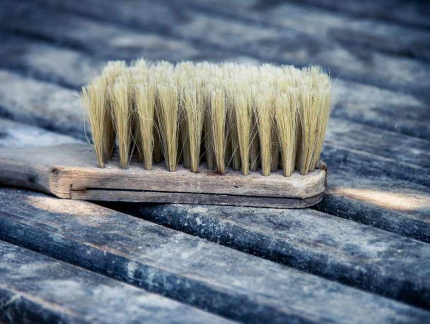 bench brush on table