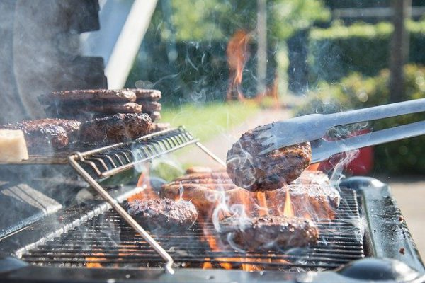 Barbecue with grilling meat