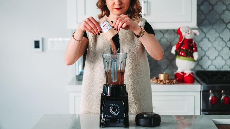 Woman on a black mixer